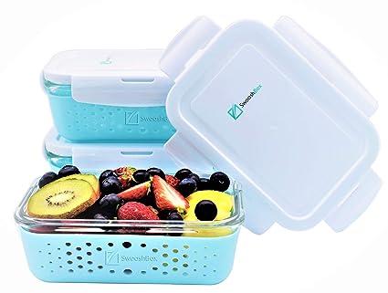 Amazon Com Swooshbox Premium Storage Glass Food Container Set With