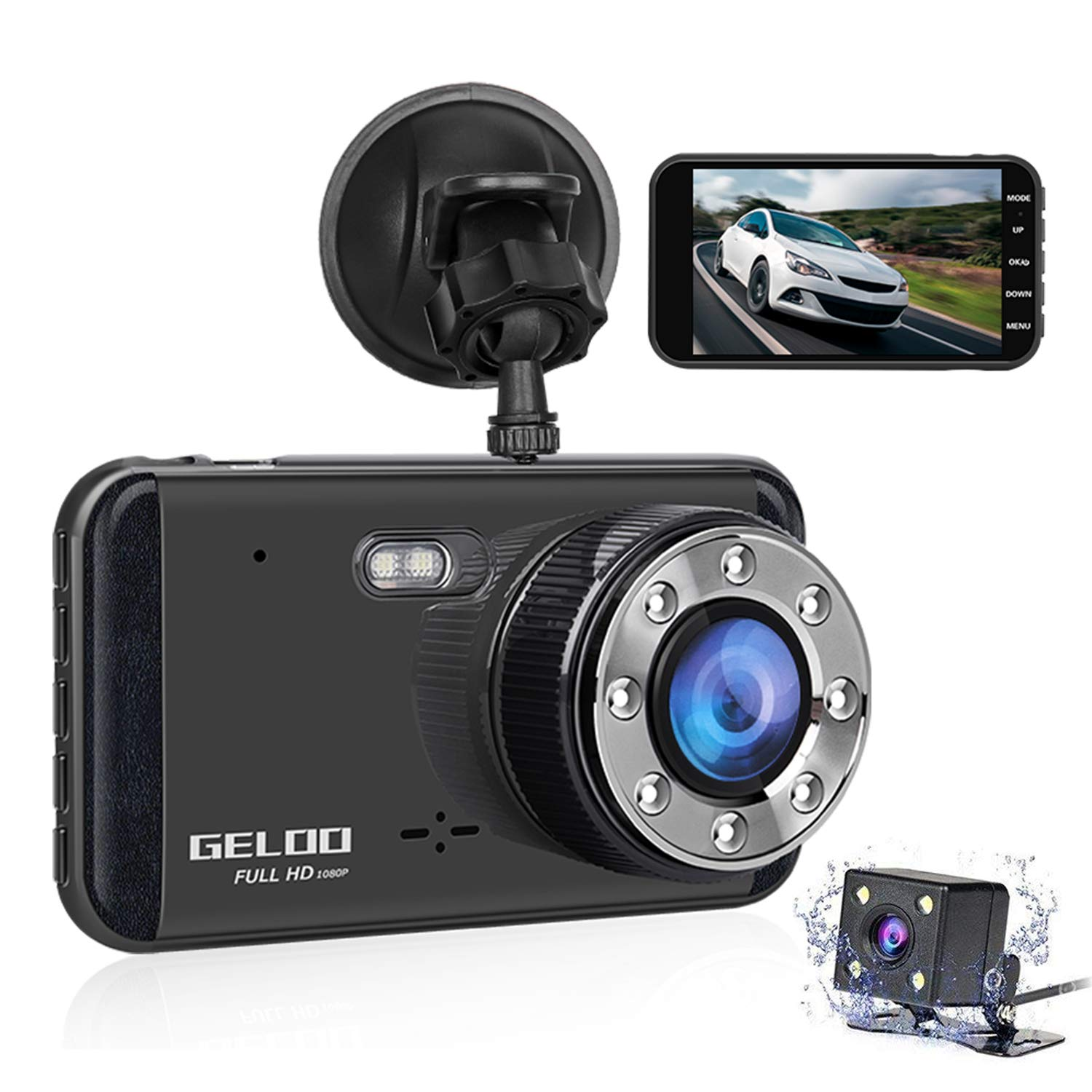 GELOO 4.0 inch Dual Lens Car Dash Cam Full HD 1080P Dashboard Camera 170 Degree Wide Angle Car Camera Recorder with WDR Enhance Night Vision, G-Sensor, Parking Mode, Motion Detection, Loop Recording
