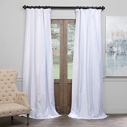 Half Price Drapes PDCH KBS1BO 108 Blackout Vintage Textured Faux Dupioni Curtain Ice