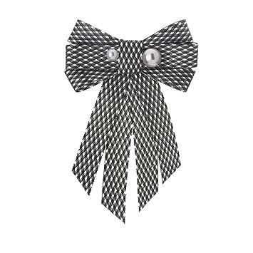 LILIMO Moda Arco Mujeres Color Sólido Arco Tela Escocesa Perla ...
