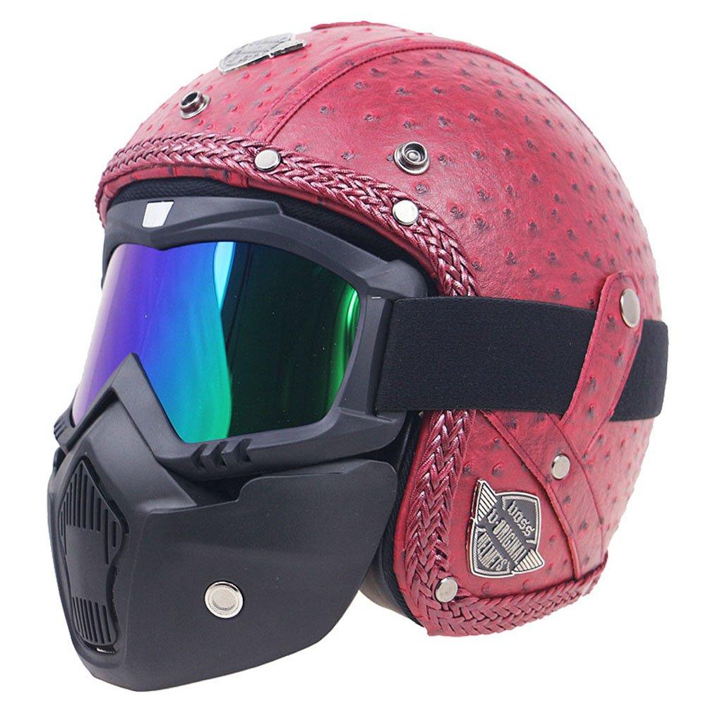 KKmoon Casco de la motocicleta a prueba de viento y sandproof otorcycle Bicicleta Casco de la cara llena M Enrejado Marr/ón cascos de cuero retro PU