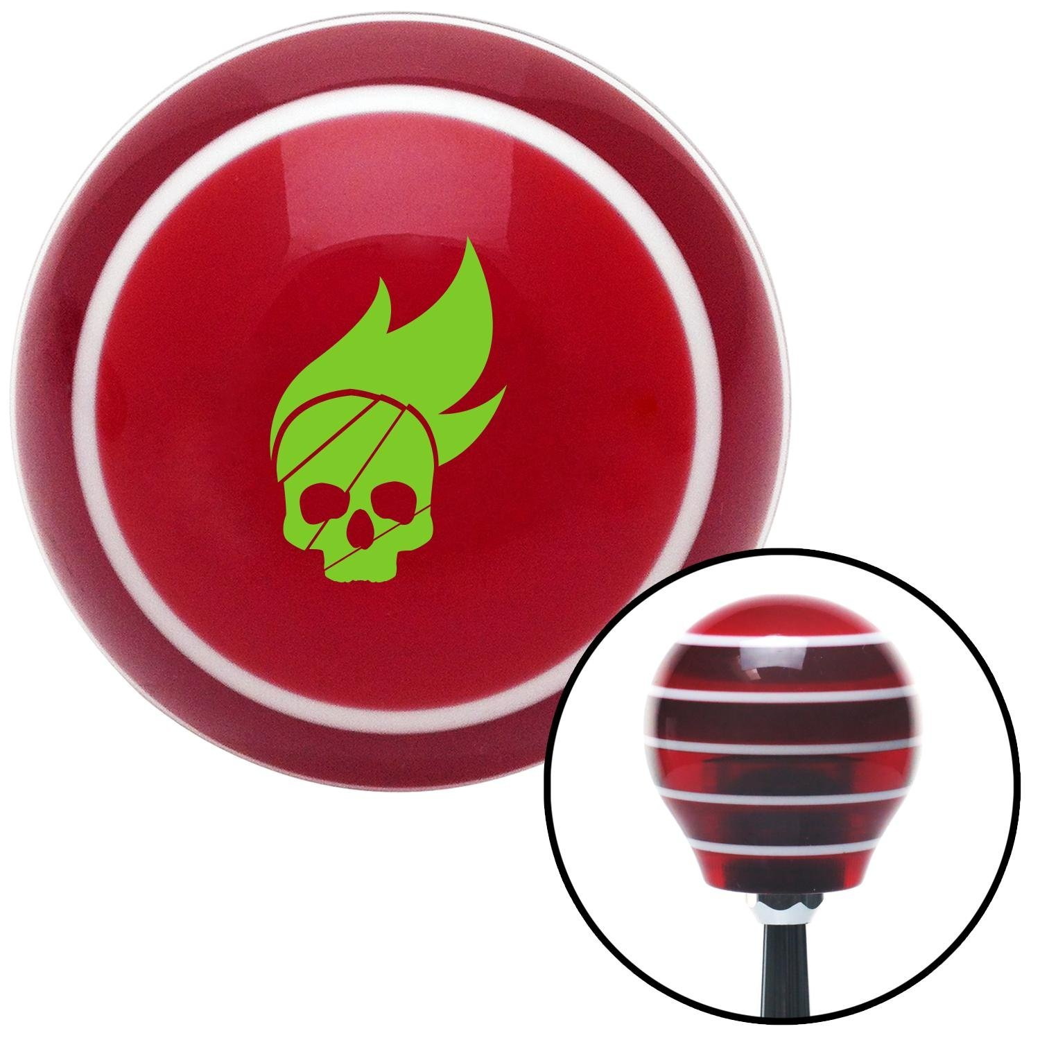 American Shifter 118578 Red Stripe Shift Knob with M16 x 1.5 Insert Green Skull Flame