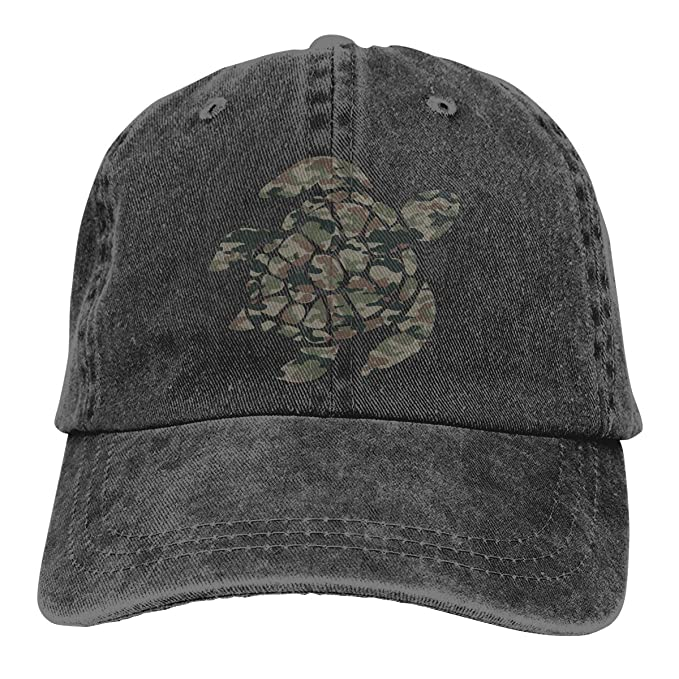 019cd3936d5e1 Men Women Distressed Denim Fabric Baseball Cap Camouflage Hawaiian Sea  Turtle Adjustable Trucker Cap