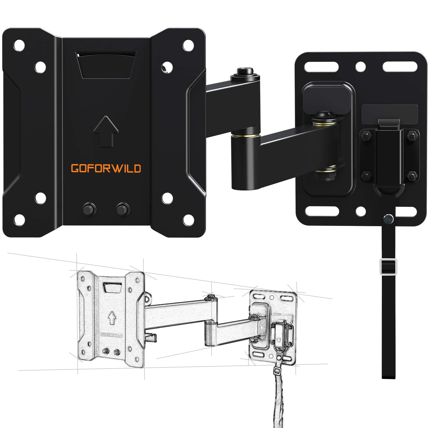 RV TV Mount for Camper Full Motion Lockable TV Wall Mount for 10-26 Inch LED LCD OLED Plasma Flat Screen TV, RV Mount on Motor Home Camper Truck Marine Boat Trailer, Earthquake Safety