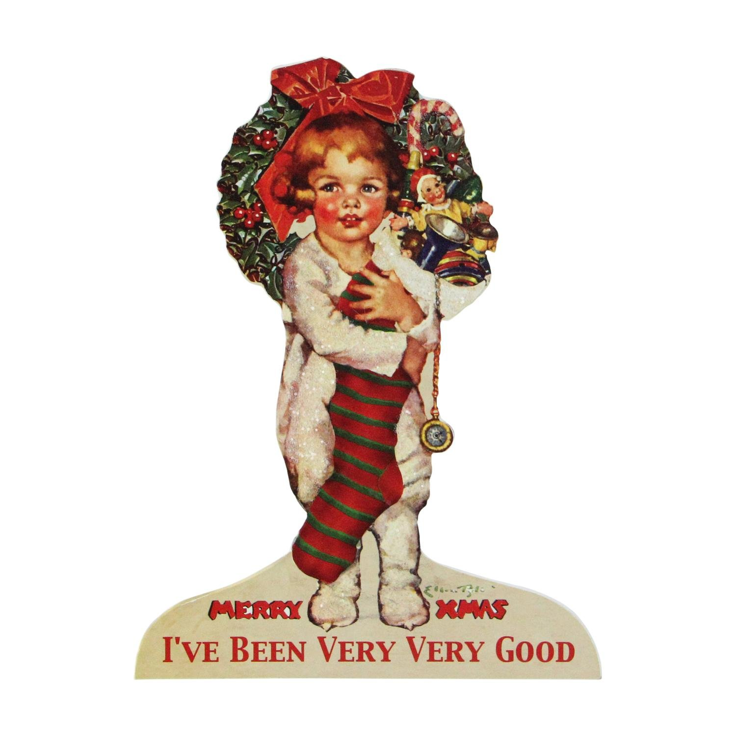 """CC Home Furnishings 10"""" Glittered Child with Her Overflowing Stocking Christmas Sign Decoration"""