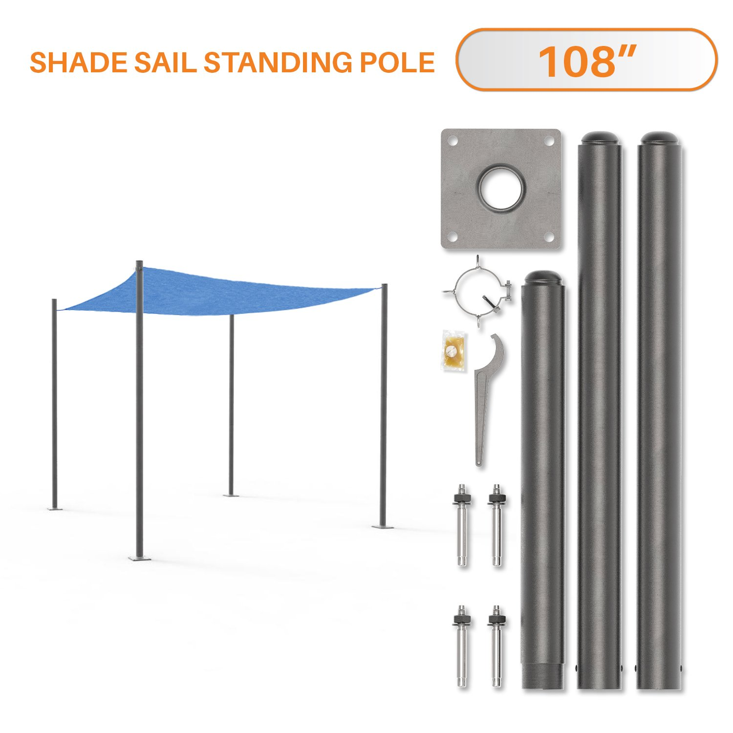 Sunshades Depot 9' Feet Tall (108'') Sun Shade Sail Pole Stand Post Heavy-Duty Awning Canopy Support Poles Space Grey Steel Fence Corner Post