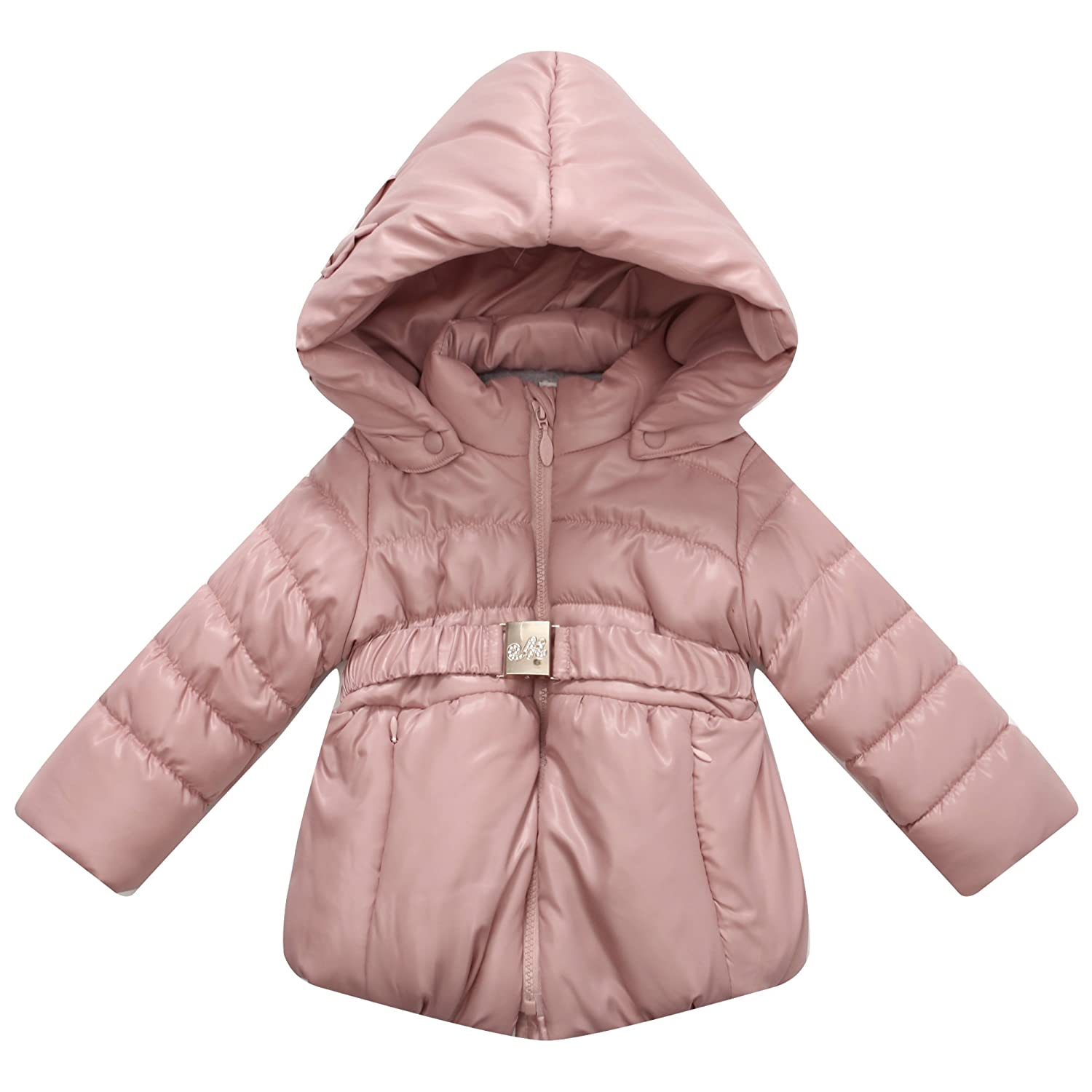 Richie House Girls' Hooded Padded Jacket Buckle Waistband RH0802