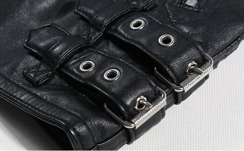 Jinmen Mens Oblique Zipper Motorcycle Leather Jacket