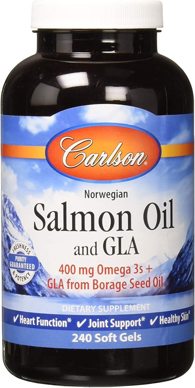 Carlson Norwegian Salmon Oil and GLA, 400 mg Omega-3s, Prostaglandin Balance, 240 Soft Gels