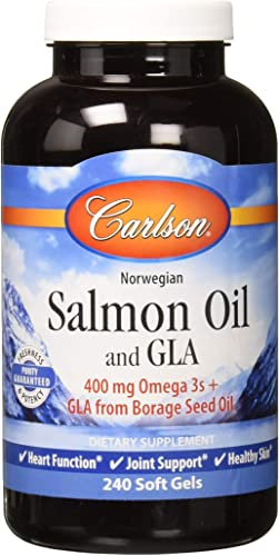 Carlson – Salmon Oil and GLA, 400 mg Omega-3s GLA from Borage Seed Oil, Norwegian, Heart Function, Joint Support Healthy Skin, 240 Softgels