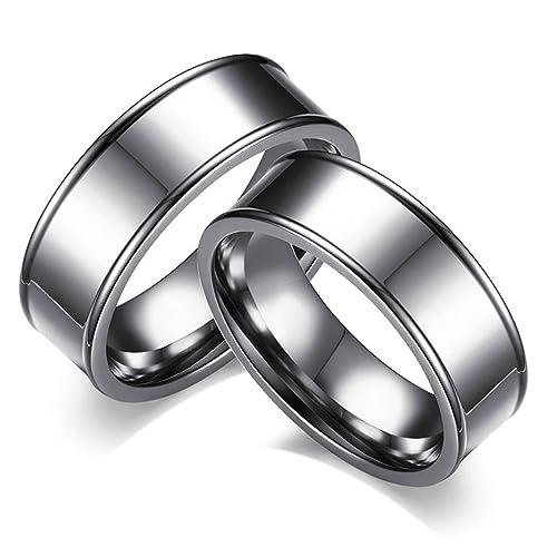Amazon.com: bishilin pareja anillos de acero inoxidable para ...