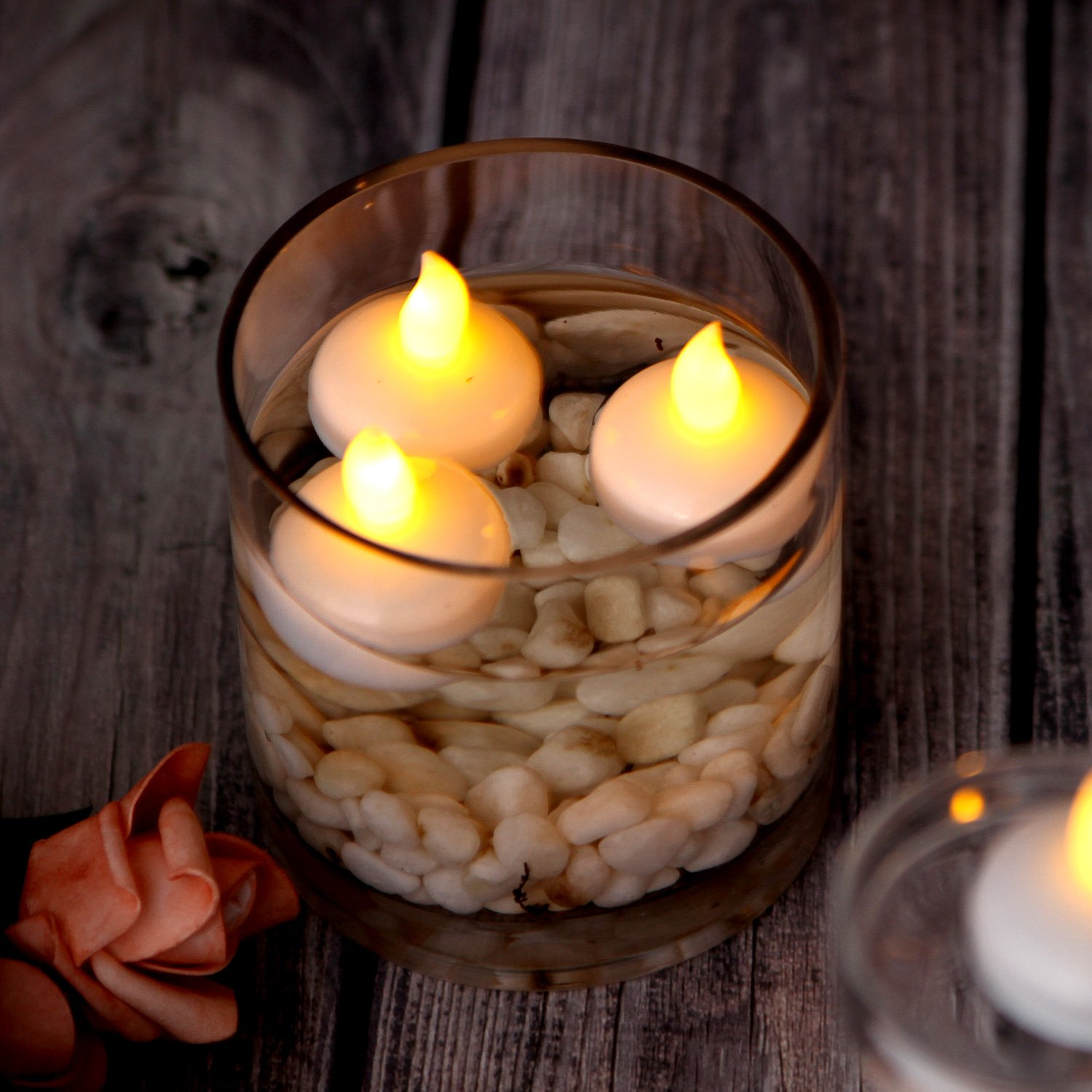 Image Flickering Flameless Floating Led Candles 12pcs Candle With Realistic Flicker And Circuit Board Style Smokeless Waterproof Tealights For Wedding Party Spa Home Indoor