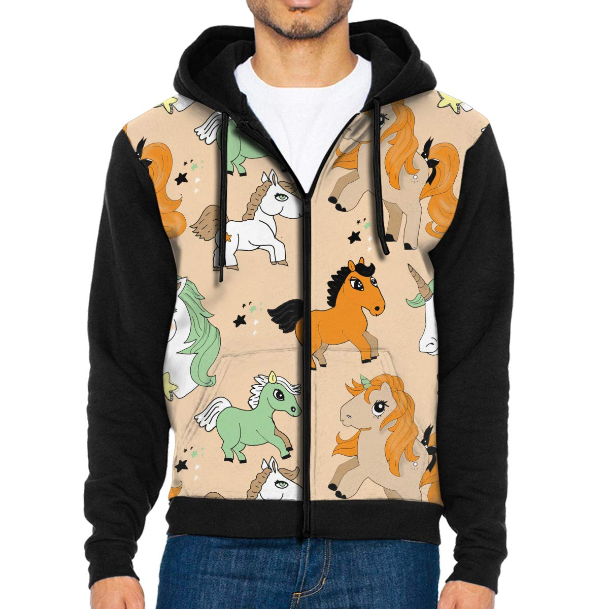 Mens Pullover Hood Cartoon Unicorn Zip Hoodies Hooded Cool Jackets Coats