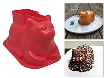 Mini Cat Shaped Cake Moldes (4 unidades, silicona) - para tartas, Cupcakes, Chocolate - Ideal para fiestas, vacaciones, ...