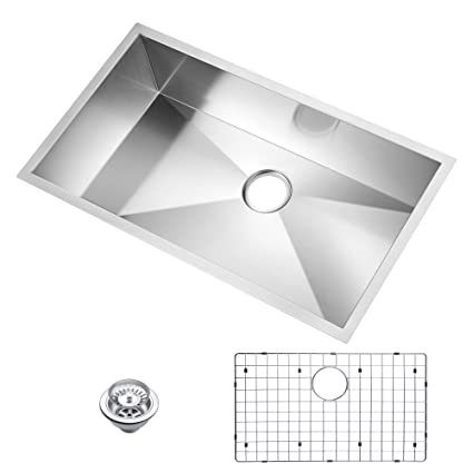 Water Creation Sssg U 3319a 33 X 19 Zero Radius Single Bowl Stainless Steel Hand Made Undermount Kitchen Sink With Drain Strainer And Bottom Grid