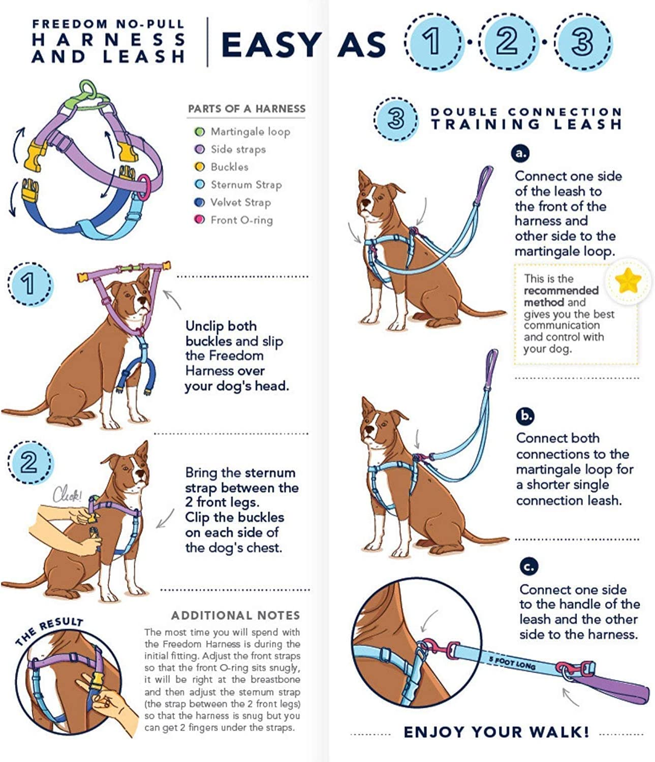 Made in USA Adjustable Gentle Comfortable Control for Easy Dog Walking 2 Hounds Design Freedom No Pull Dog Harness with Leash for Small Medium and Large Dogs