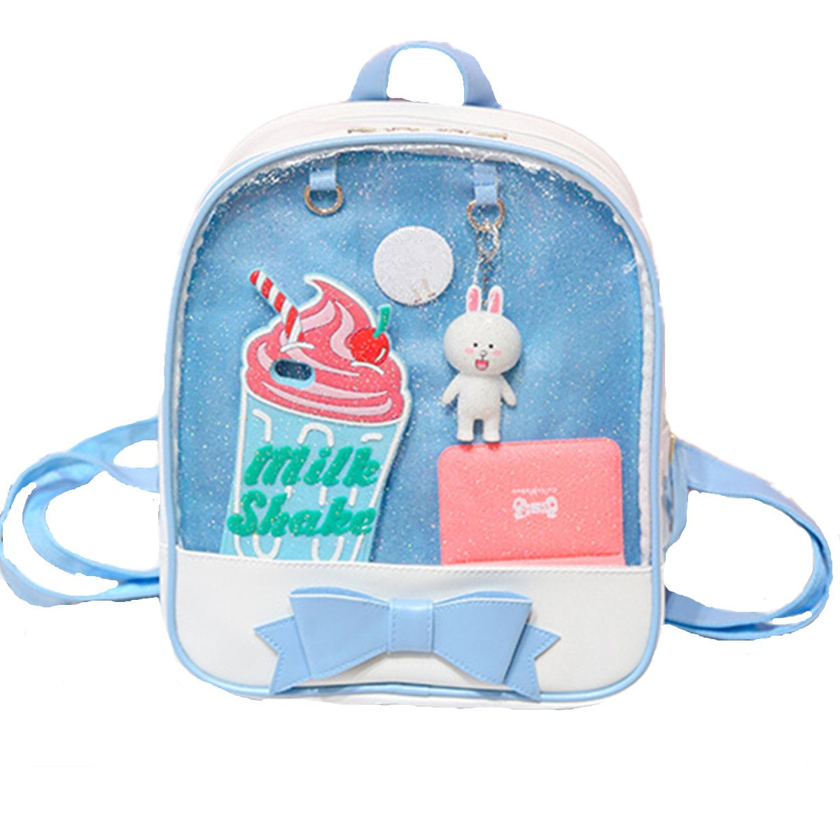 Smilecoco Candy Leather Cat Backpack Plastic Transparent Beach Girls School Bag (Black)