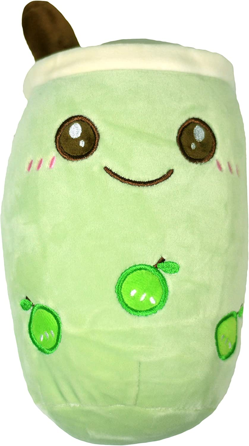Omega Pax Variety Boba Milk Tea Plushie Pillow, Comforting Stuffed Animal Toy, Super Soft Material, Snuggle Plush Travel Companion (Green Apple Boba)