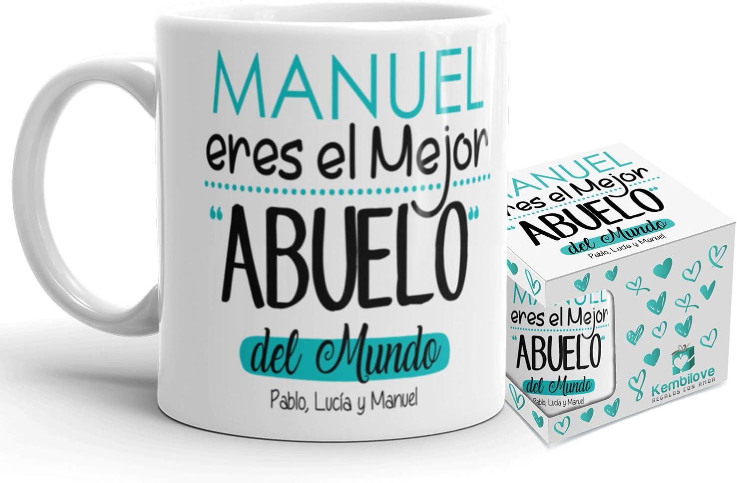 Kembilove Taza de Café Abuelo – Taza de Desayuno Eres el Mejor Abuelo del Mundo – Taza de Café y Té para Abuelos – Taza de Cerámica Impresa – Tazas de de 350 ml – Regalo Original Abuelo