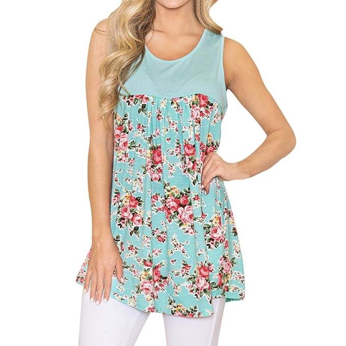 ... EN Oferta Suelto Tops Blusas de Mujer Elegantes de Fiesta Baratas Costura de Encaje Estampado Floral T-Shirt Moda 2018: Amazon.es: Ropa y accesorios