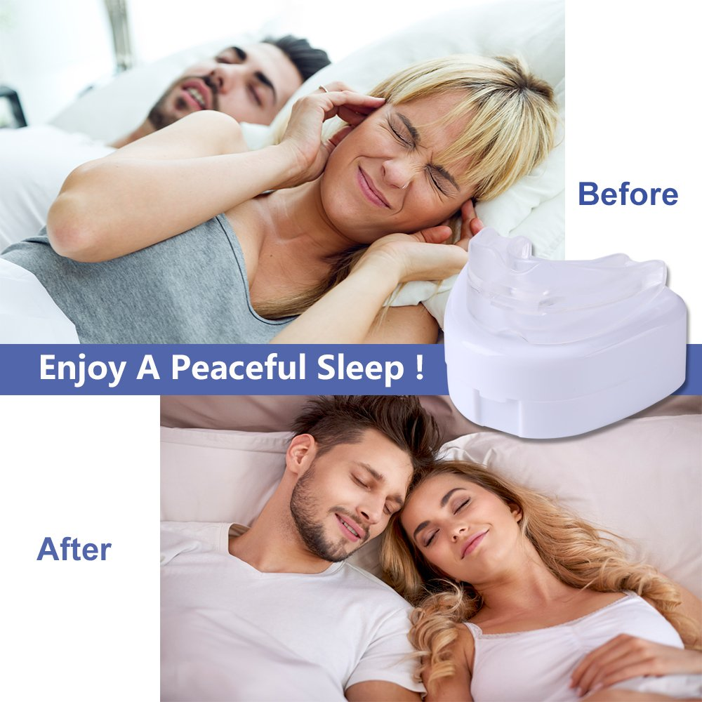 Snore Stopper Mouthpiece Anti Snoring Solutions Devices Mouth Guards Teeth Grinding Bruxism Sleep Aid Night Soft Silicone BPA Free