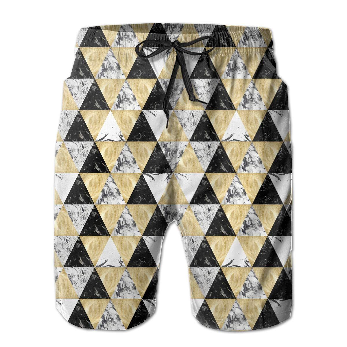 HFSST Pattern Stone Marble Yellow Black White Mens Swim Trunks Bathing Suit Shorts Board Beach