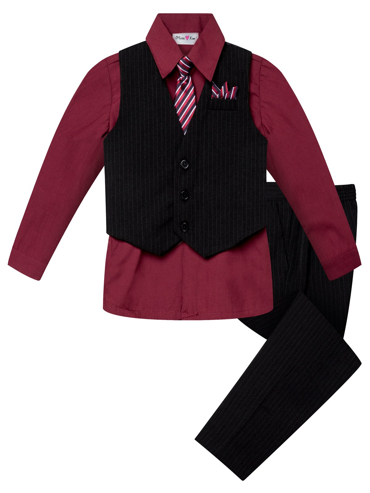 OLIVIA KOO Boys Colored Shirt Pinstripe 4 Piece Pinstriped Vest Set Size Infant-Boy,Burgundy,3T