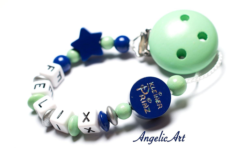 Cadena para chupete con nombres de madera modelo pequeño Prinz Color Mint de color azul oscuro: Amazon.es: Bebé