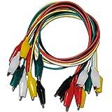 Myoffice 双頭ワニ口クリップテストストリップラインラインメンテナンスリンク50CM束10 5色のラインの長さ