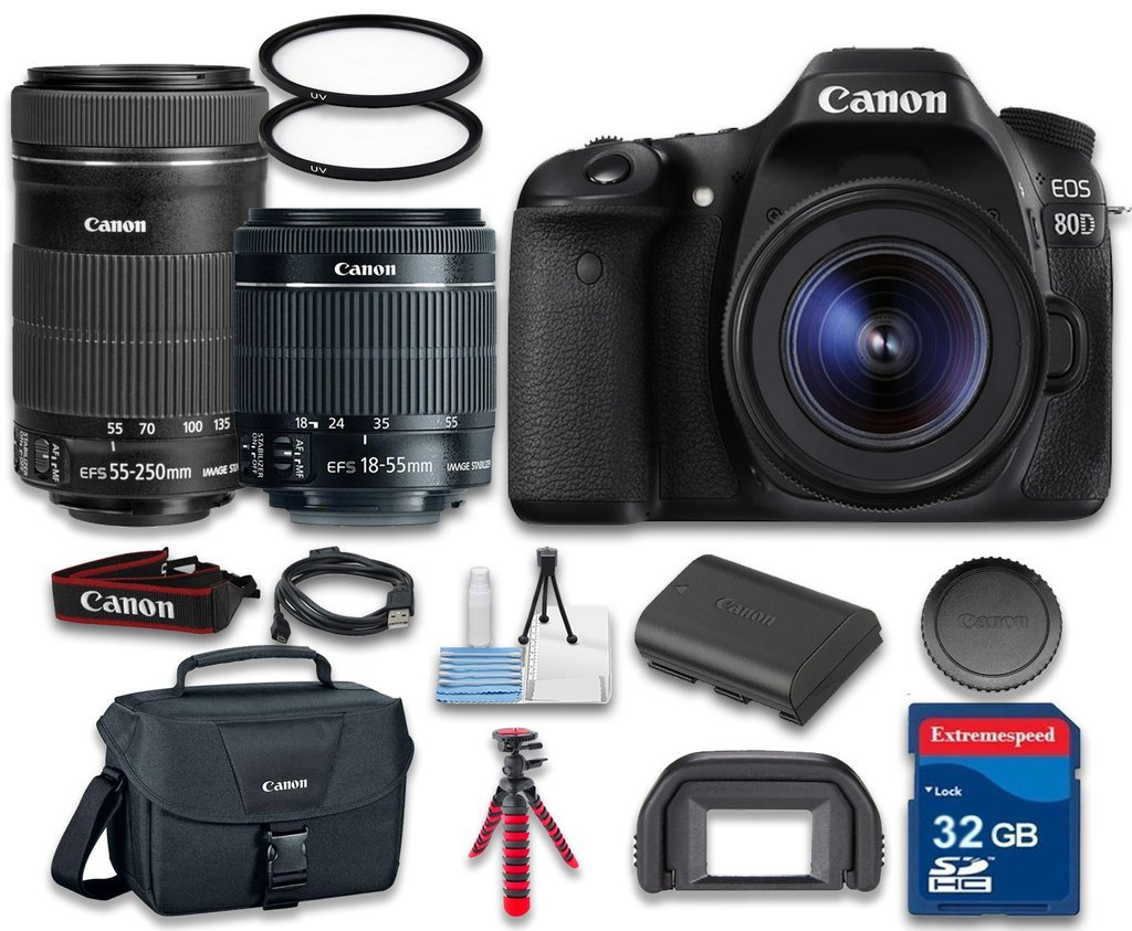 Canon EOS 80D Digital SLR Camera Wi-Fi Enabled with Canon EF-S 18-55mm f/3.5-5.6 IS STM Lens + Canon EF-S 55-250mm f/4-5.6 IS STM + Camera Case + Cleaning Kit + 32 GB SD Card - International Version by Celltime Inc.