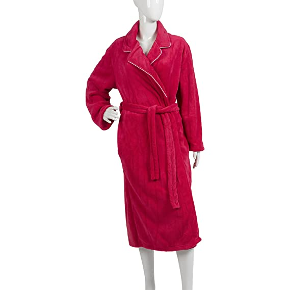 Waite Ltd Ladies Plain Dressing Gown Satin Trim Soft Polyester ...