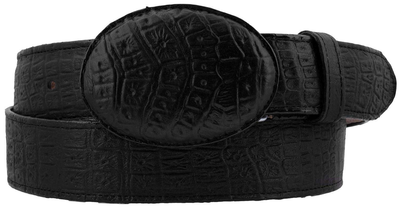 El Presidente Mens Black Crocodile Belly Pattern Cowboy Belt Rodeo Buckle 36