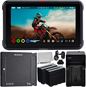 """Atomos Ninja V 5"""" 4K HDMI Recording Monitor with Sony AtomX SSDmini (1TB) Essential Bundle – Includes: 2X Rechargeable Lithium-Ion Battery + Battery Charger + Microfiber Cleaning Cloth"""
