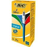 BIC 4 Colores Original - Caja de 12 bolígrafos retráctiles  multicolor