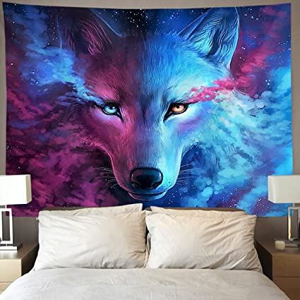 HOMESTORES pink and blue cool wolf moon art Wall Tapestry Hippie Art  Tapestry Wall Hanging Home Decor Extra large tablecloths 60x90 inches For  Bedroom ...