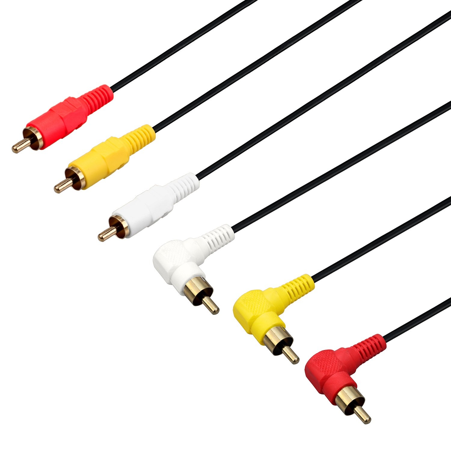 Amazon.com: 3 RCA Cable(1.6FT) - Premium Gold Plated 90 Degree Right Angle RCA Audio / Video Cable 3 Male To 3 Male Composite Video Audio A/V AV Cable ...