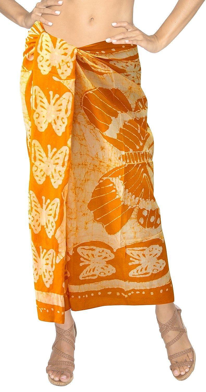 La Leela reiner Baumwolle Schmetterling Batik alle in 1 Damen Lounge Wear/Strand/Badeanzug/Bikinibadebekleidung/verschleiern/sundress/Badeanzug Hawaii Verpackung Pareo /Sarong Kleid 198x108 cm Gold