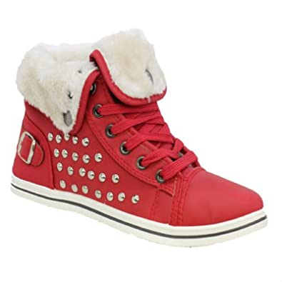 KOLLACHE Womens Fur Lined Shoes With Studs Color Red Size UK 3 EU 36 US 5