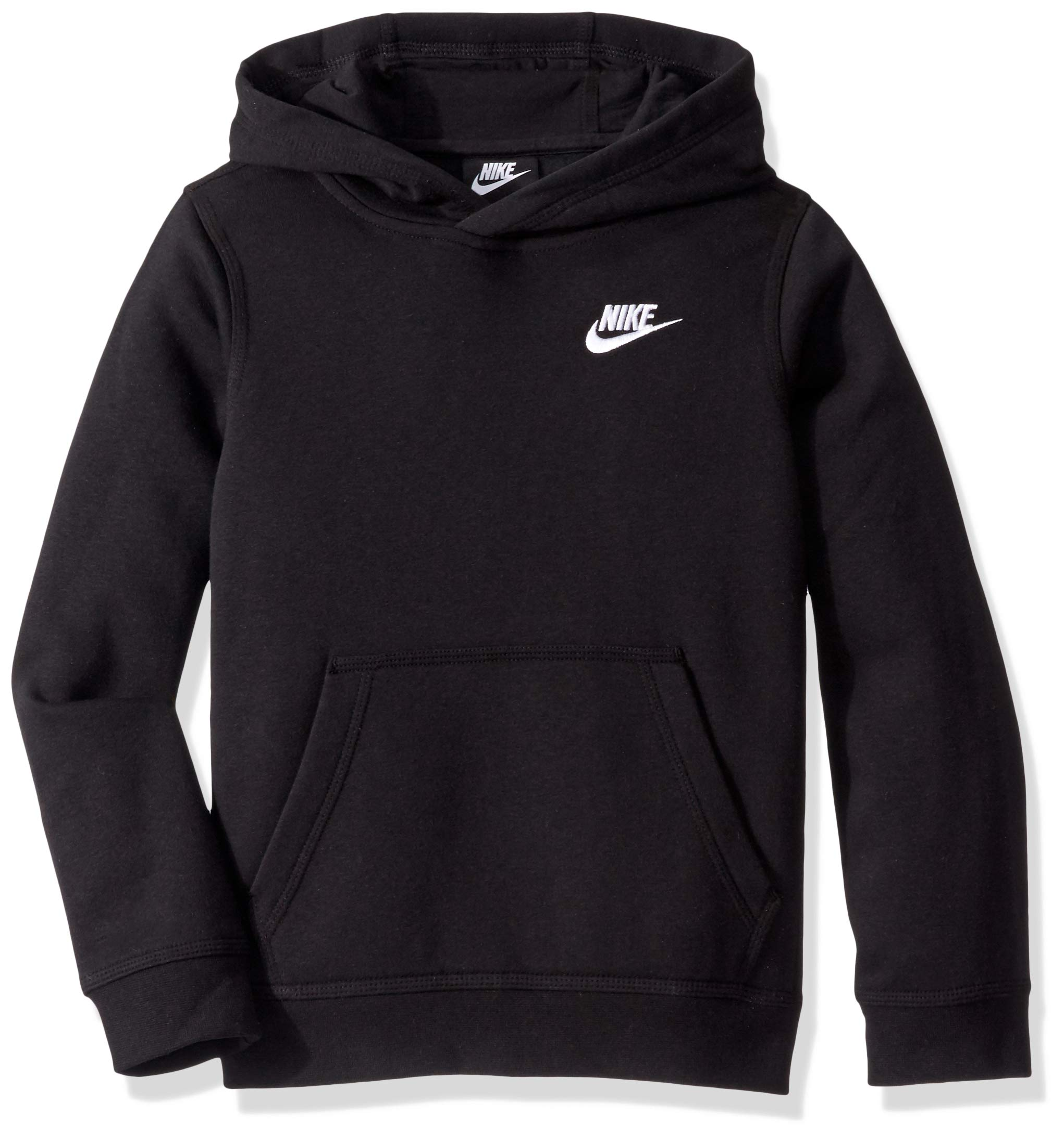 Nike Boy's NSW Pull Over Hoodie Club, Black/White, Large