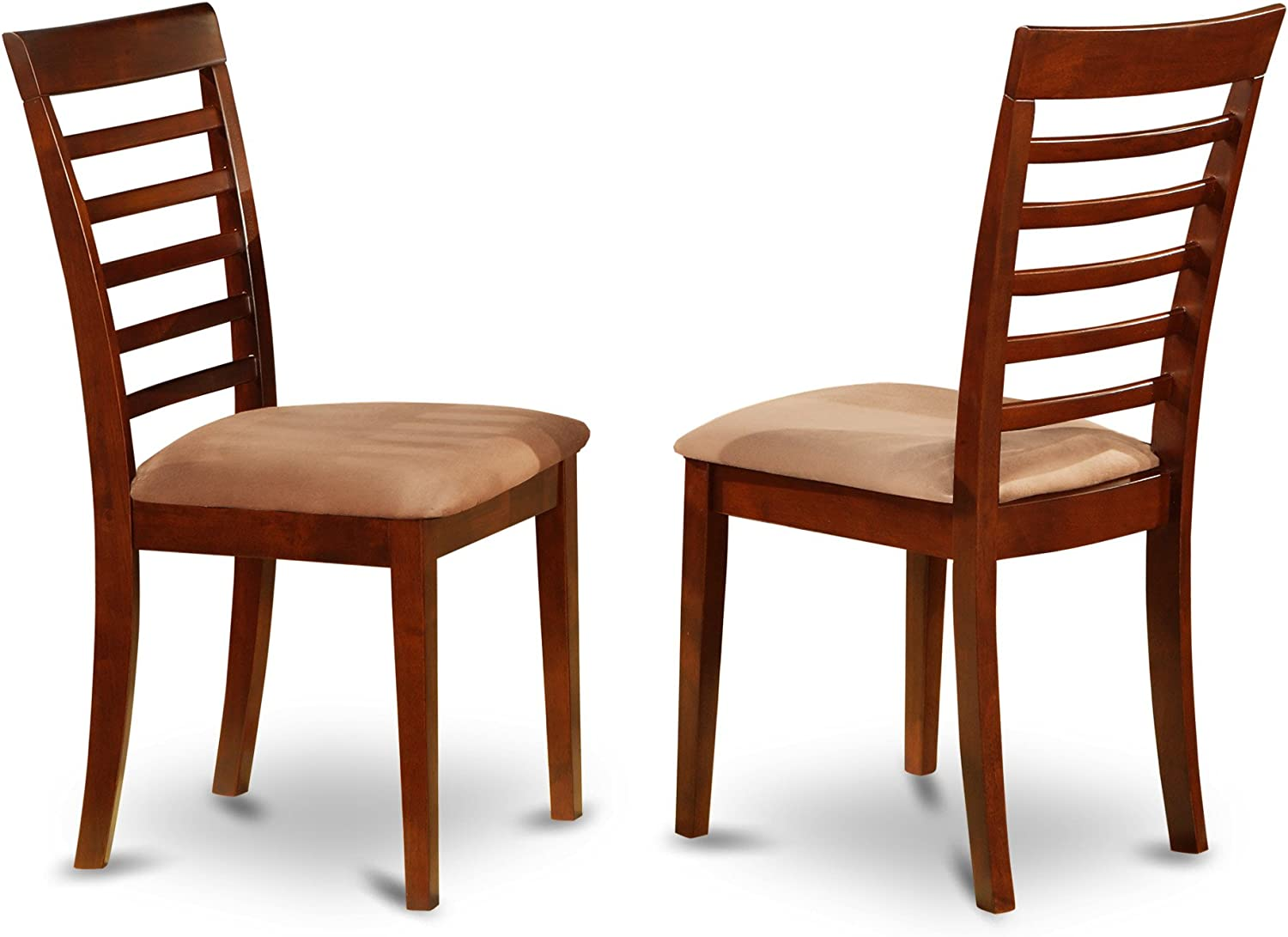 East West Furniture MLC-MAH-C Dining Chair Set with Padded Seat, Mahogany Finish, Set of 2