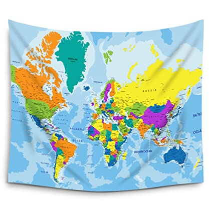 Amazon mugod educational colorful world map wall tapestry mugod educational colorful world map wall tapestry hanging polyester fabric wall art tapestries home decor gumiabroncs Images