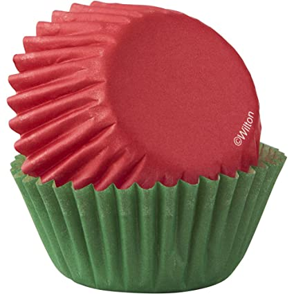 Amazon.com: Wilton Red & Green Mini Cupcake Liners 100-Count: Kitchen & Dining