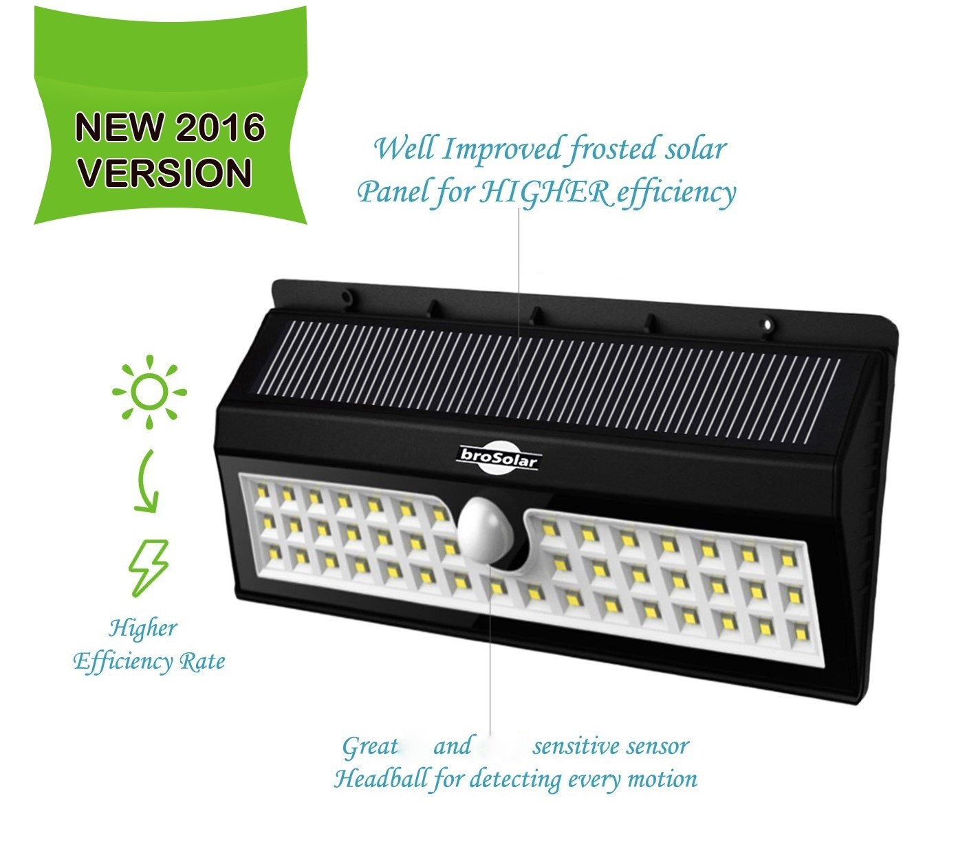 Super Bright 44 Big LED Motion Sensor Solar Powered Wireless Security Wall Outdoor Garden Ponds Accent Lighting Pond Decor Lamp Finials Lights Three Smart Modes Weatherproof Easy Install Green Tech by broSolar (Image #2)