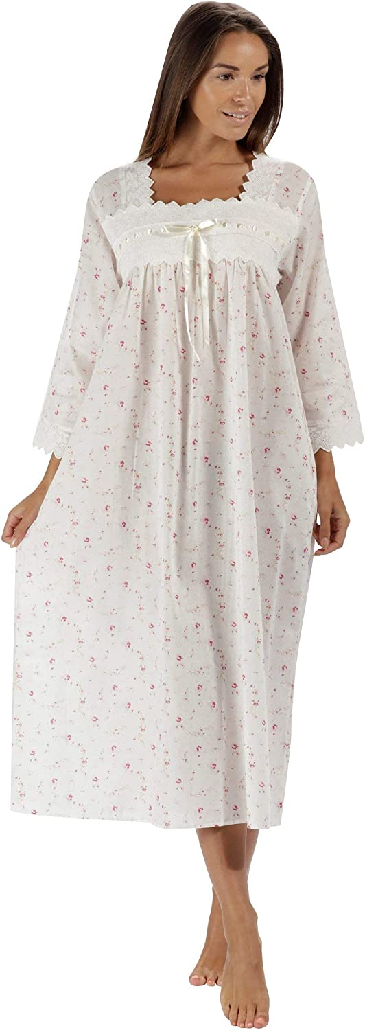 The 1 for U 100% Cotton Nightgown 3/4 Sleeves + Pockets - Laura