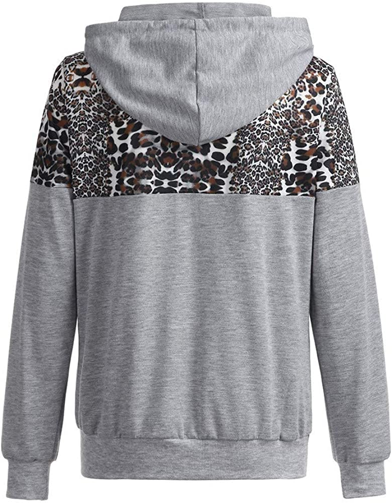 iTLOTL Womens Autumn Winter Leopard Print Jacket Hooded Sweater Coat Hooded Sweats