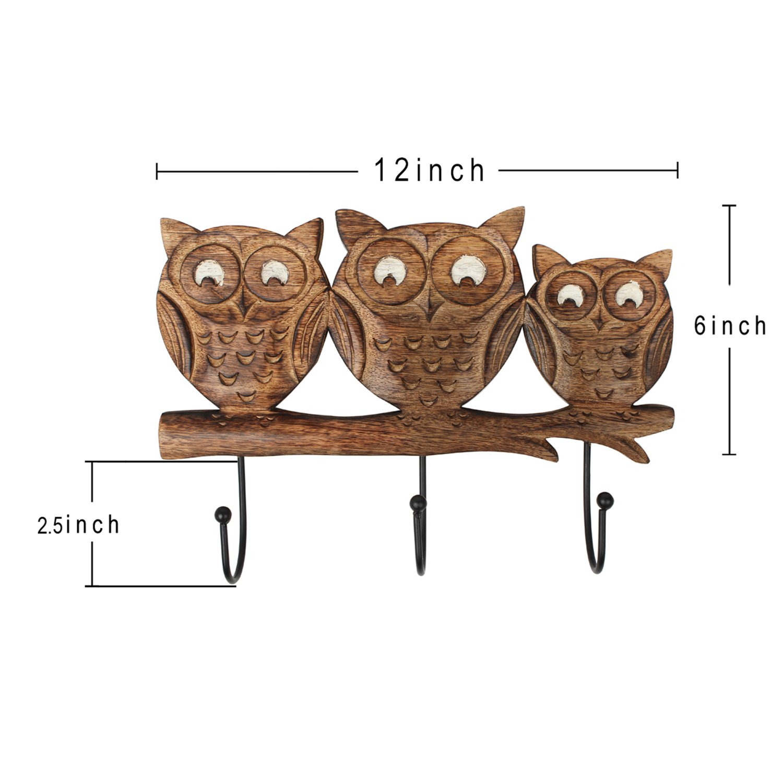 Store Indya – Wall Hooks Key Holders – Owl Wooden Coat Hangers by storeindya (Image #7)