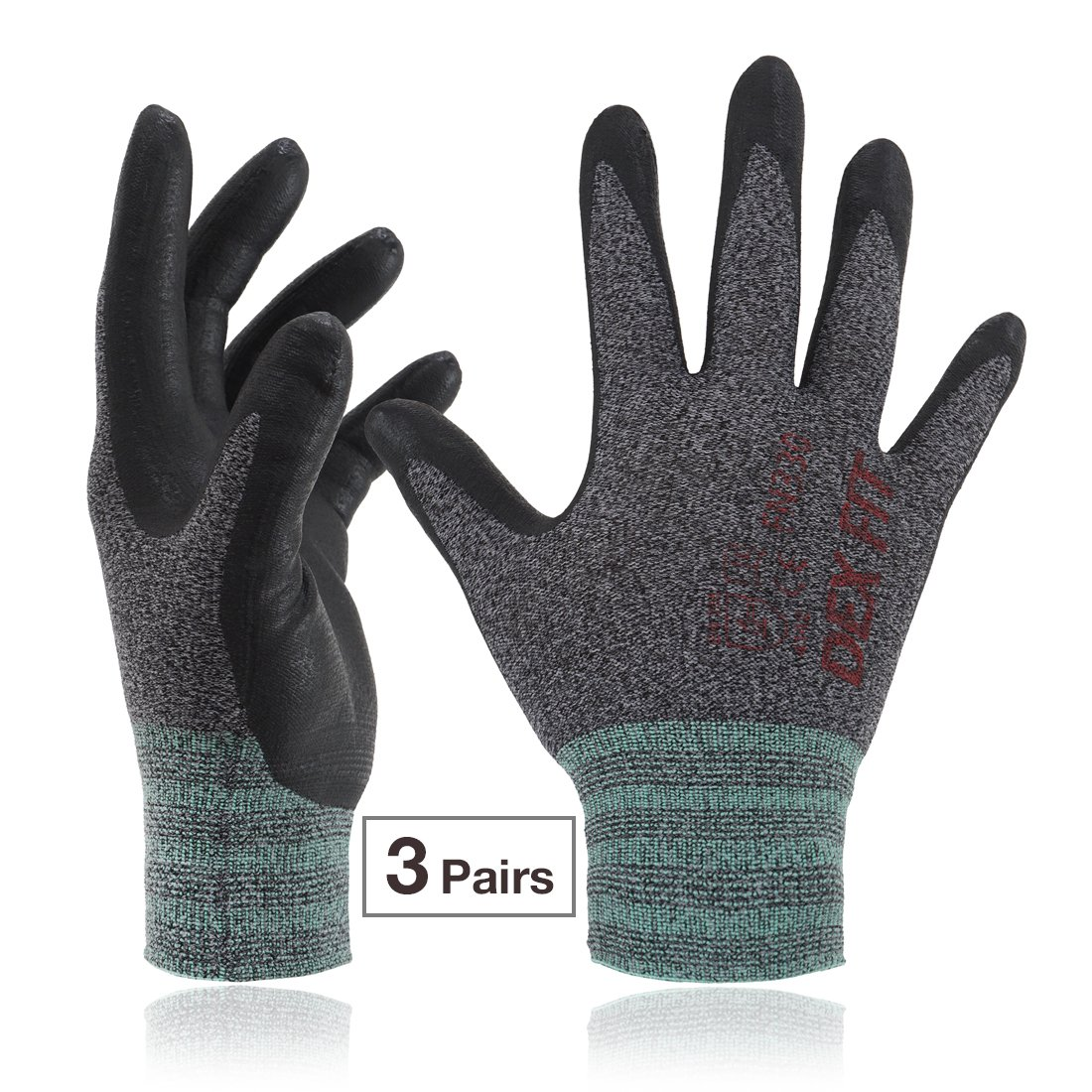 DEX FIT Lightweight Nitrile Work Gloves FN330, 3D Comfort Stretch Fit, Durable Power Grip Foam Coated, Smart Touch, Thin Machine Washable, Black Grey Small 3 Pairs Pack