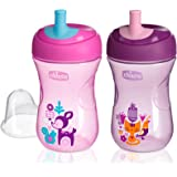 Chicco NaturalFit Straw Trainer Sippy Cup, in Assorted Colors, 9 Ounce, 2 Count