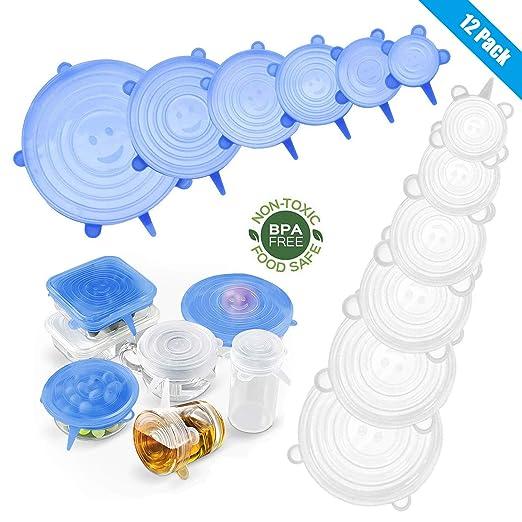 Yimidon - 12 Tapas de Silicona Extensibles sin BPA, Tapa ...