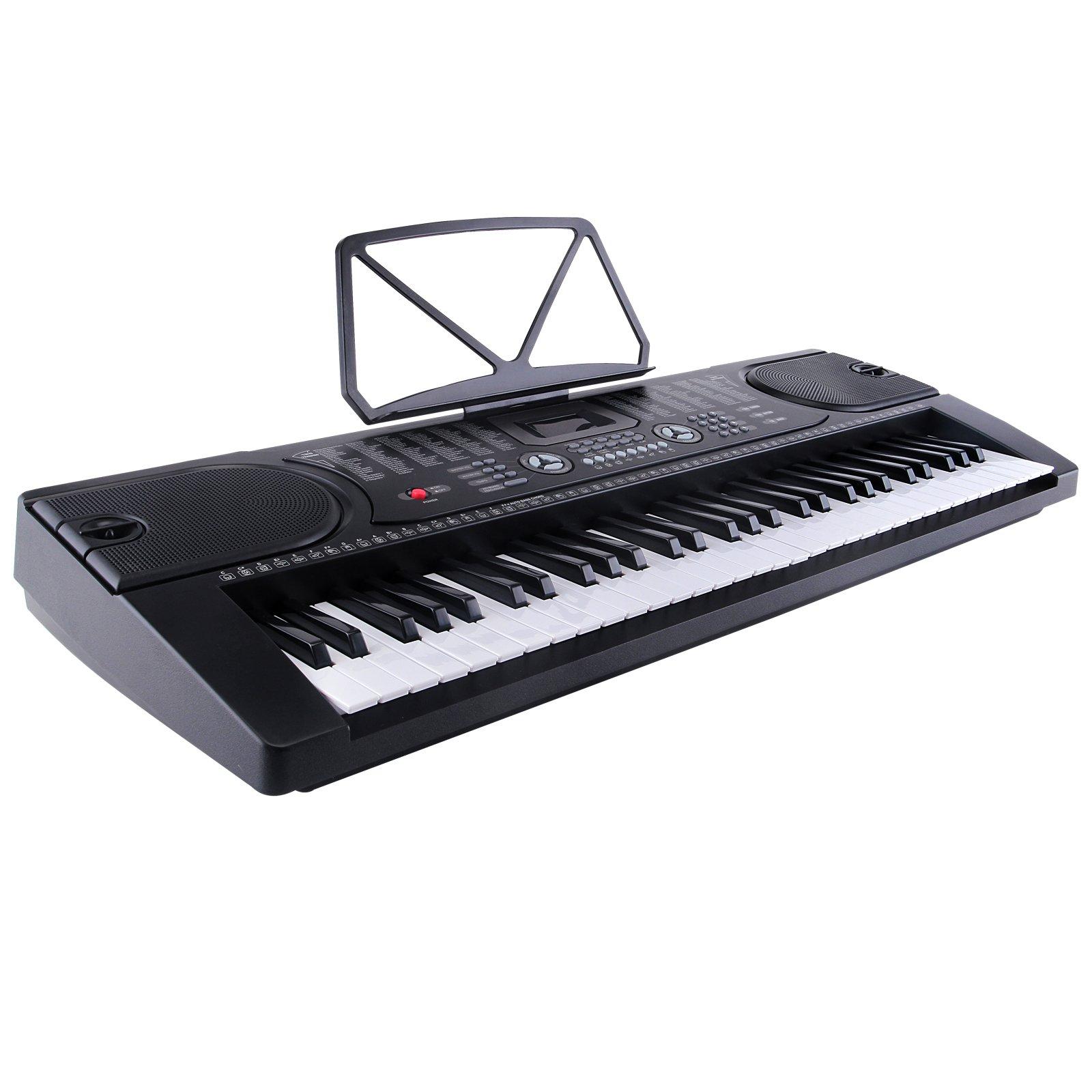 LAGRIMA Electric Piano Keyboard 61 key Keyboard Music Piano Portable Electronic Digital paino with Microphone (Black)